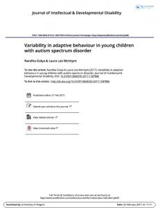 Variability in adaptive behaviour in young children