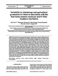Variability in climatology and agricultural production in China in ...