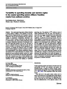 Variability in upwelling intensity and nutrient regime in the coastal ...