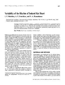 Variability of the rhythm of isolated rat heart - Springer Link