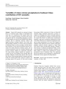 Variability of winter extreme precipitation in Southeast China ...