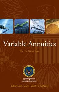Variable Annuities: What You Should Know - Securities and ...