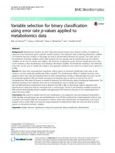 Variable selection for binary classification using error rate p-values ...