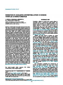 Variation in acoustic overstimulation changes tinnitus ... - Core