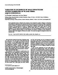 VARIATION IN INCIDENCE OF MALE INFANTICIDE WITHIN ... - BioOne