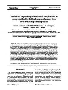 Variation in photosynthesis and respiration in geographically distinct ...
