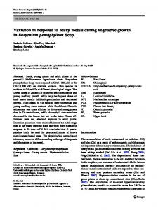 Variation in response to heavy metals during vegetative growth ...