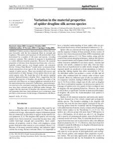 Variation in the material properties of spider dragline ... - Springer Link