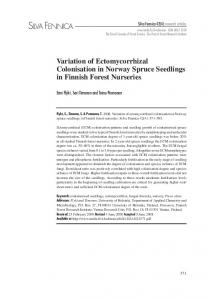 Variation of ectomycorrhizal colonisation in Norway spruce seedlings ...