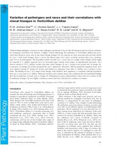 Variation of pathotypes and races and their correlations with clonal ...