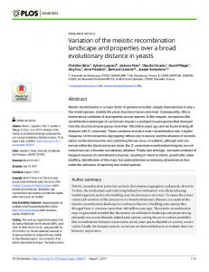 Variation of the meiotic recombination landscape and ... - PLOS