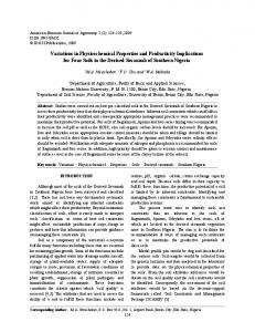 Variations in Physicochemical Properties and Productivity Implications ...