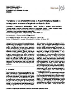 Variations of the crustal thickness in Nepal Himalayas ... - Solid Earth