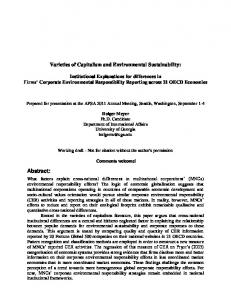 Varieties of Capitalism and Environmental Sustainability