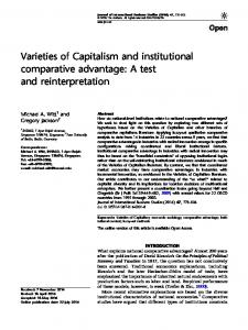 Varieties of Capitalism and institutional comparative advantage: A test