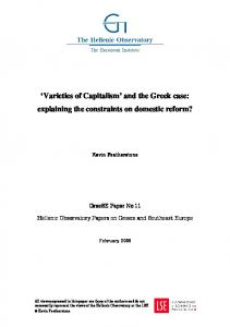 'Varieties of Capitalism' and the Greek case - London School of ...