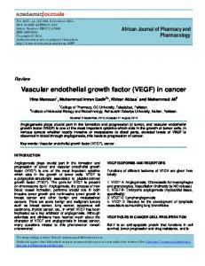 Vascular endothelial growth factor (VEGF) in cancer
