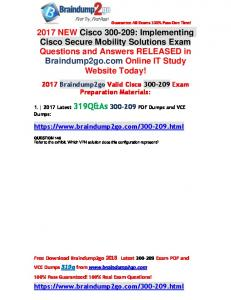 [VCE]Braindump2go 2018 New Cisco 300-209 PDF Dumps Free Offer(Q146-Q156)