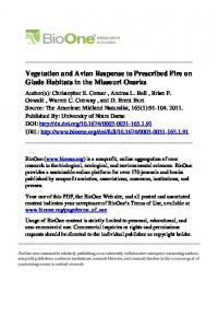 Vegetation and Avian Response to Prescribed Fire on