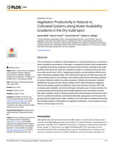 Vegetation Productivity in Natural vs. Cultivated
