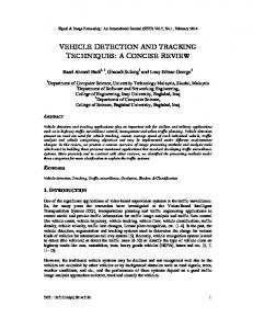 vehicle detection and tracking techniques: a ... - Aircc Digital Library