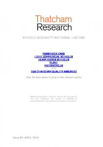 VEHICLE SECURITY NATIONAL LISTING - Thatcham