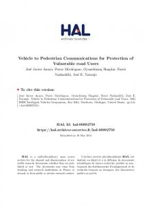 Vehicle to Pedestrian Communications for ... - Semantic Scholar