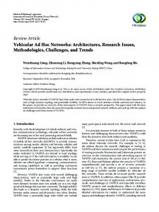 Vehicular Ad Hoc Networks: Architectures, Research Issues ...