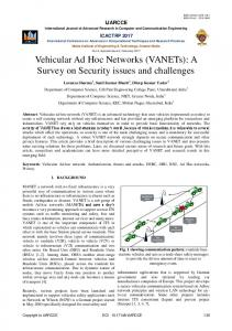 Vehicular Ad Hoc Networks (VANETs): A Survey on Security ... - ijarcce