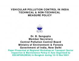 VEHICULAR POLLUTION CONTROL IN INDIA TECHNICAL & NON ...