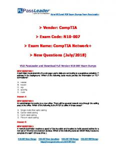 CompTIA A+ Certification Exam Objectives Exam Number - MAFIADOC COM