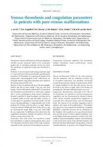 Venous thrombosis and coagulation parameters in patients with ... - NJM