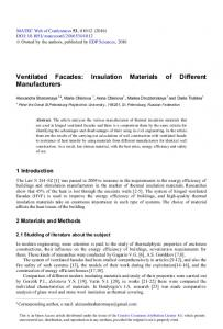Ventilated Facades: Insulation Materials of Different Manufacturers
