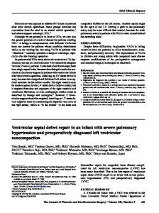 Ventricular septal defect repair in an infant with severe pulmonary
