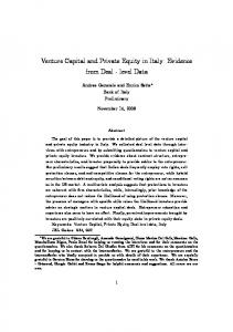 Venture Capital and Private Equity in Italy: Evidence ...