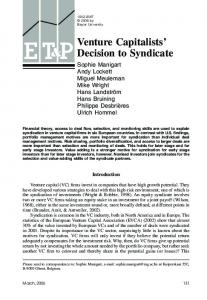 Venture Capitalists' Decision to Syndicate - Wiley Online Library