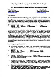 Verb Morphology and Clause Structure in Basque: Allocutive Yulia ...
