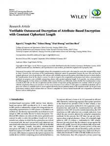 Verifiable Outsourced Decryption of Attribute-Based Encryption with ...