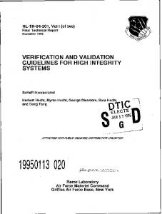 verification and validation guidelines for high integrity systems