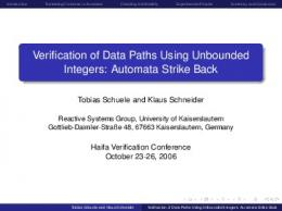Verification of Data Paths Using Unbounded ... - Semantic Scholar