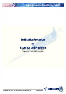 Verification Procedure for Accuracy and Precision