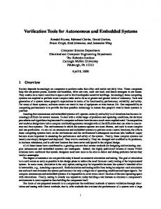 Verification Tools for Autonomous and Embedded Systems
