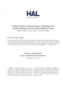 Verified Abstract Interpretation Techniques for ... - HAL-Inria