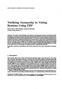 Verifying Anonymity in Voting Systems Using CSP - Department of ...