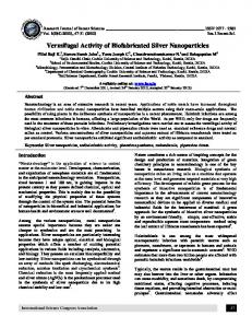 Vermifugal Activity of Biofabricated Silver Nanoparticles