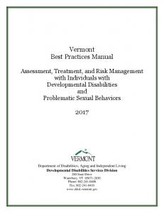 Vermont Best Practices Manual: Assessment ...