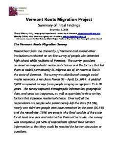 Vermont Roots Migration Project - University of Vermont
