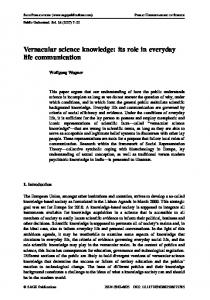 Vernacular science knowledge: its role in everyday life communication