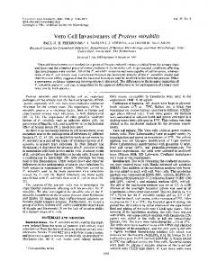 Vero Cell Invasiveness of Proteus mirabilis - Infection and Immunity