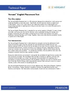 Versant English Placement Test - Pearson Australia